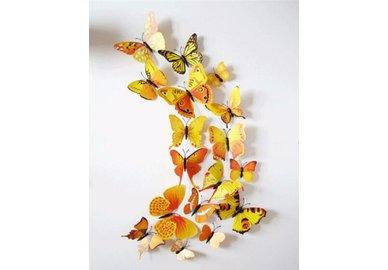 Dekorativní motýlci na zeď 3 kusy - barva žluto-oranžová