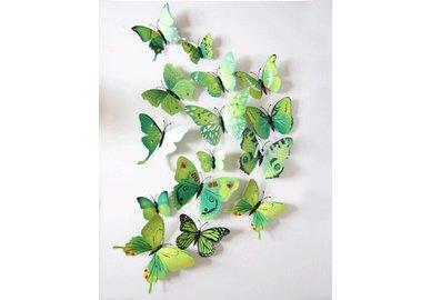 Dekorativní motýlci na zeď 3 kusy - barva zelená