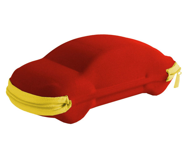 Pouzdro na brýle se zipem - auto červené