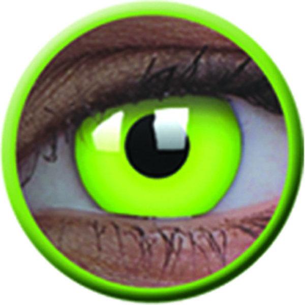 ColourVue Crazy čočky UV svítící - Glow Green (2 ks roční) - nedioptrické - poškozený obal
