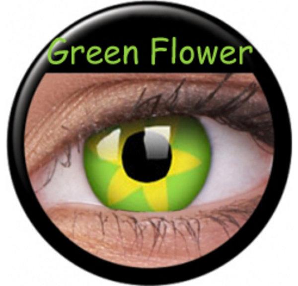 ColourVue Crazy čočky - Green Flower (2 ks roční) - nedioptrické