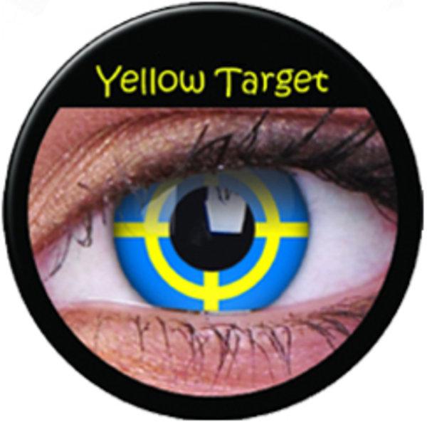 ColourVue Crazy čočky - Yellow Target (2 ks roční) - nedioptrické