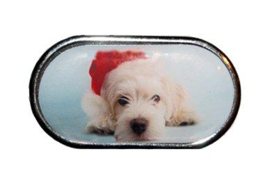 Pouzdro se zrcátkem Vánoční motiv - Dlouhosrsté štěně v čepici